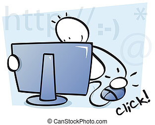 funny kid internet browsing - a boy is clicking and sending ...