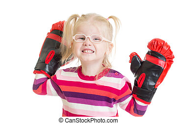 Funny kid or child in eyeglasses boxing isolated
