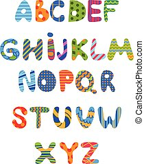 Funny kids colorful alphabet .Vector