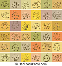 Funny kids faces on colorful vintage background