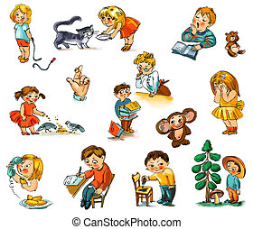 Funny kids on a white background. Child's picture book -...