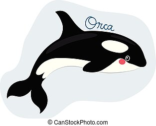 Funny sweet killer whale orca illustration with text