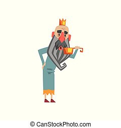 Funny king character drinking water from golden bucket cartoon vector Illustration