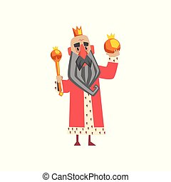 Funny king character in red mantle holding orb and scepter cartoon vector Illustration