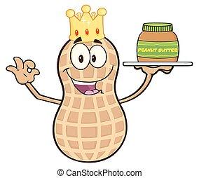 Funny King Peanut Cartoon Character