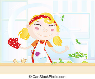 Funny kitchen girl - Cooking girl have fun in the...