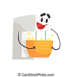 Funny kitchen mixer bowl character with smiling face, humanized home electrical equipment vector Illustration
