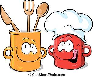 funny kitchen pot character - pot vector illustration