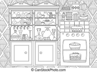 funny kitchen with cupboard and oven for your coloring book