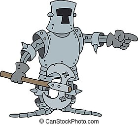 Funny knight with an axe