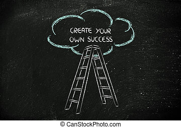 funny ladder of success design with motivational writing -...