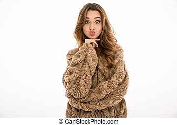 Funny lady dressed in warm sweater