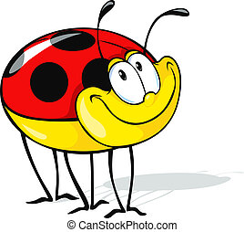 funny ladybug cartoon - cute ladybug cartoon isolated on...