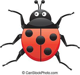 Funny ladybug, looking left, cartoon character, isolated on white background, vector illustration