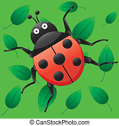 Funny ladybug, looking on me, cartoon character on green seamless background with leaves, vector illustration