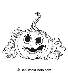 Funny lantern from pumpkin with the cut out of a grin and leaves outlined for coloring page