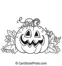 Funny lantern from pumpkin with the cut out of grin and leaves outlined for coloring page