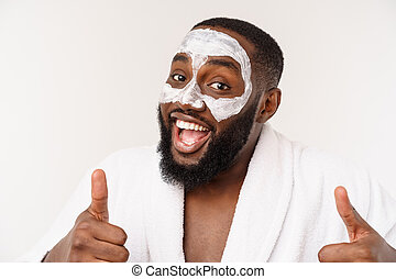 funny laughing man with mask leads healthy lifestyle, showing thumb up. positive emotion in the morning