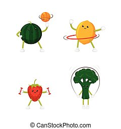 Funny lemon and strawberry training, doing sport