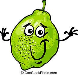 funny lime fruit cartoon illustration
