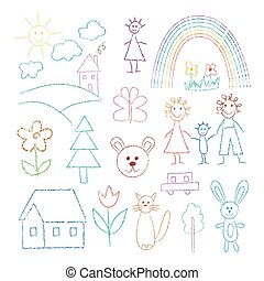 Funny cute line childrens drawings or pictures set, flat vector illustration isolated on white background. Childish hand drawn icons of people and animals collection.