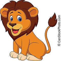 Funny lion cartoon - Vector illustration of Funny lion...