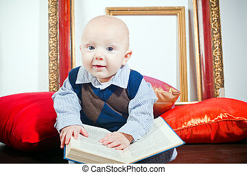 Funny Little Baby With Book
