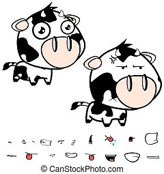 funny little big head cow expressions set