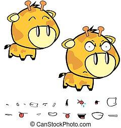 funny little big head giraffe expressions set1