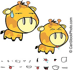 funny little big head giraffe expressions set10
