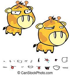 funny little big head giraffe expressions set11