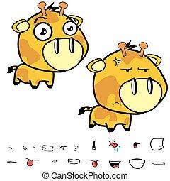 funny little big head giraffe expressions set2