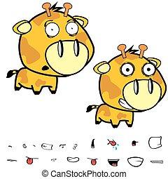 funny little big head giraffe expressions set3