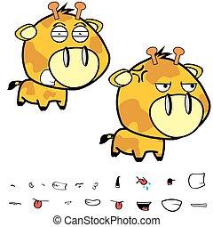 funny little big head giraffe expressions set4