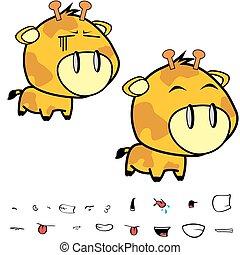 funny little big head giraffe expressions set5