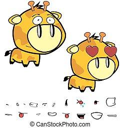 funny little big head giraffe expressions set6