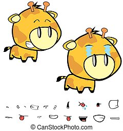 funny little big head giraffe expressions set7