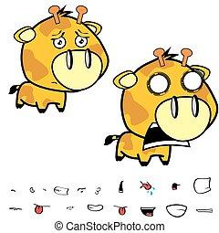 funny little big head giraffe expressions set8