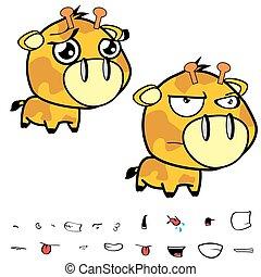 funny little big head giraffe expressions set9