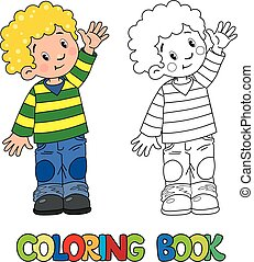 Funny little boy with balloons. coloring book. Coloring book ...