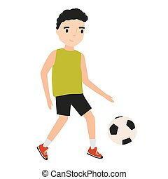 Funny little boy dressed in sportswear playing football or soccer isolated on white background. Sports game, physical activity for children. Colorful vector illustration in flat cartoon style.