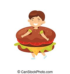 Funny little boy wearing burger costume. Laughing kid. Child with happy face. Flat vector design
