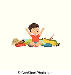Funny little bully boy sitting among scattered clothes, hoodlum cheerful little kid, bad child behavior vector Illustration