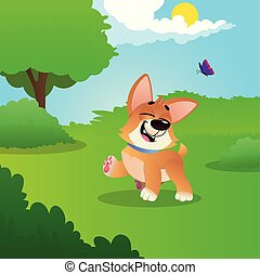 Funny little corgi walking by green meadow in park. Sunny summer day. Nature landscape with trees, bushes, blue sky, white clouds, flying butterfly. Flat vector design
