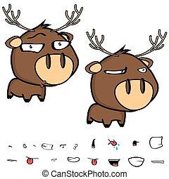 funny little deer cartoon big head set expressions
