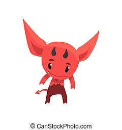 Funny little devil showing his horns. Cartoon fictional monster character from hell