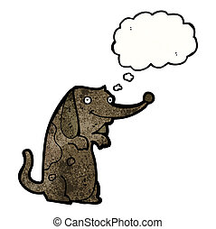 funny little dog with thought bubble