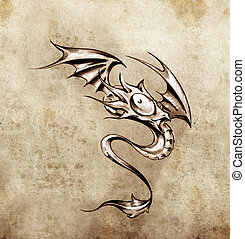 Funny little dragon. Sketch of tattoo art, stylish fantasy monster