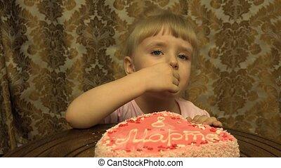 Little Girl Birthday Cake. 4K
