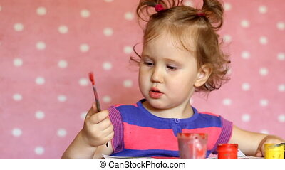 Funny little girl drawing gouache. The child paints with watercolors. Education